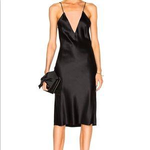 Fleur du mal silk maxi midi slip black dress